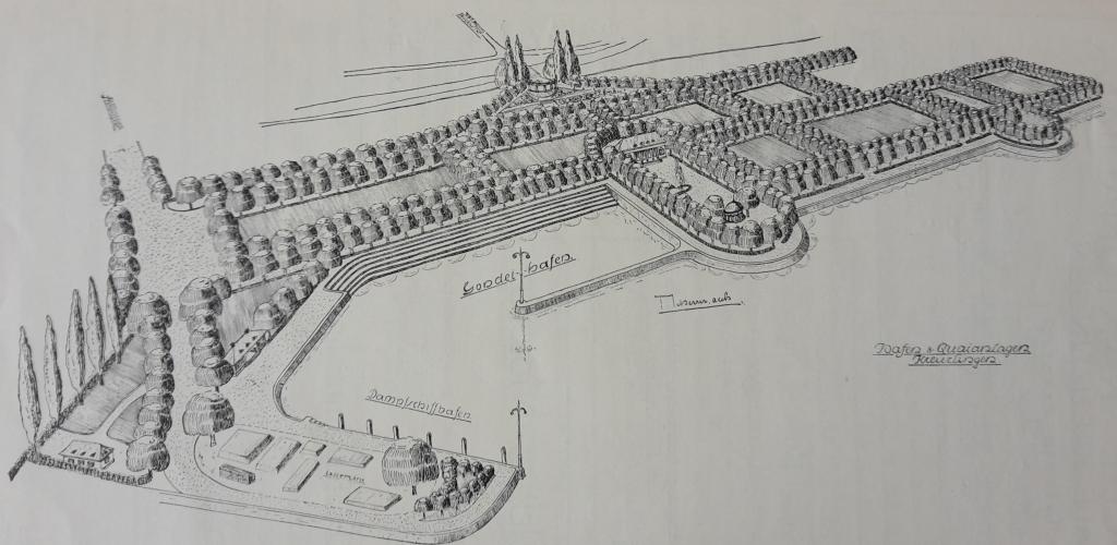 Projektierte Quaianlagen und Gondelhafen am See, Kreuzlingen 1925